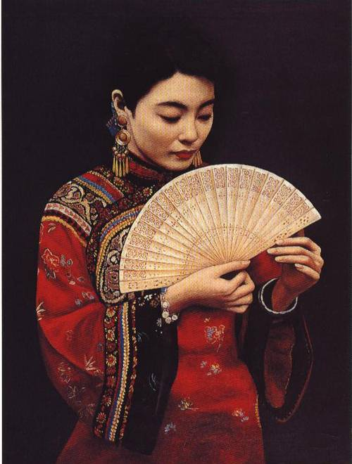 Girl with a Fan | Li Feng Di | Oil Painting