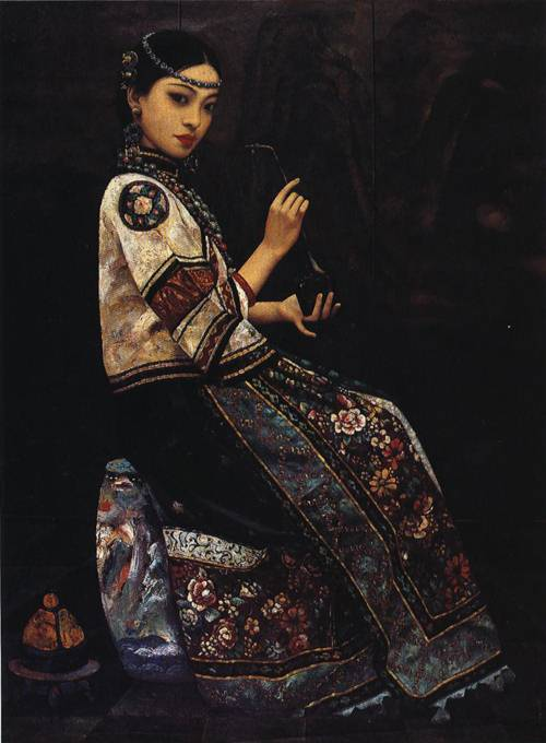 girl with a pipe painting li feng di oil paintings