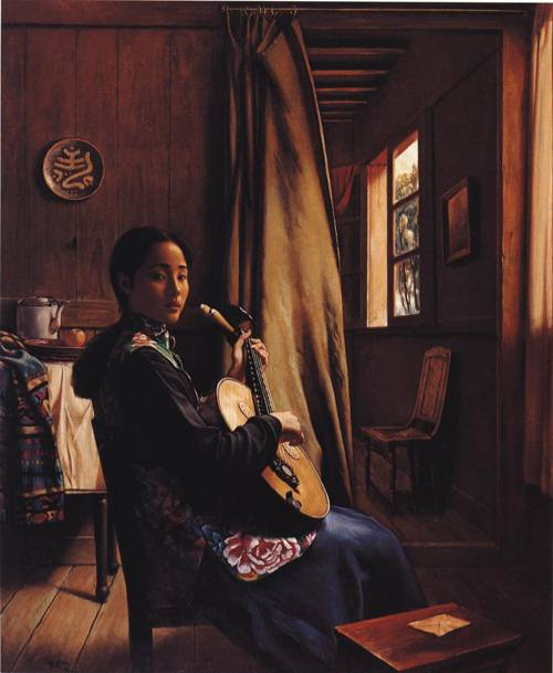 Girl with Stringed Instrument | Jian Lin Guan | Oil Painting