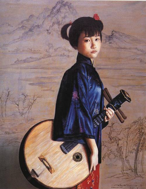 Little Girl with String | Xiao Fan Zhang | Oil Painting