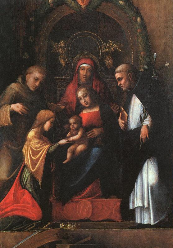 The Mystic Marriage Of St Catherine 1510-15   Correggio   Oil Painting