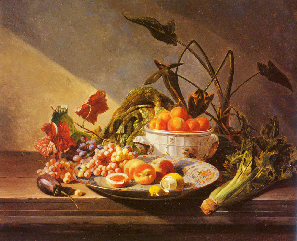 A Still Life With Fruit And Vegetables On A Table | David Emile Joseph De Noter | Oil Painting