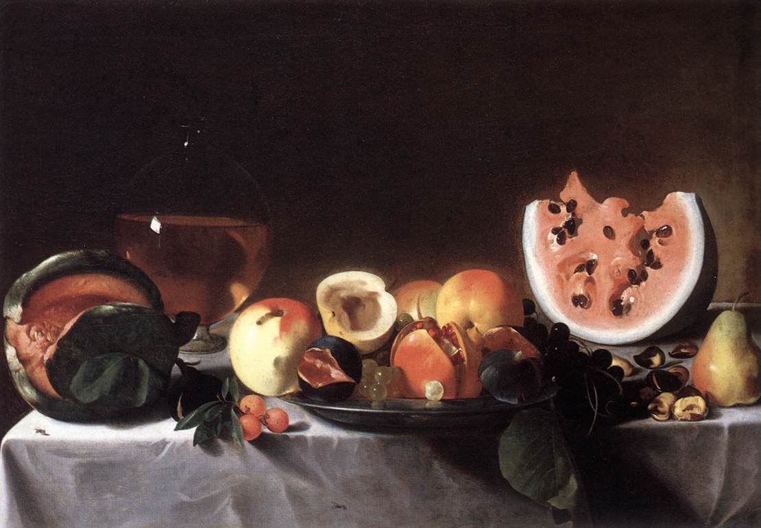 Still Life With Fruit and a Carafe of White Wine 1615   Del Saraceni Pensionante   Oil Painting