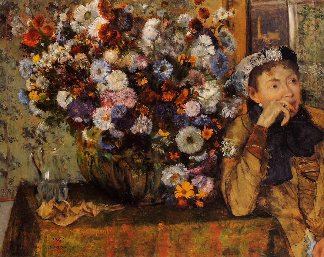 A Woman Seated beside a Vase of Flowers 1865 | Edgar Degas | Oil Painting