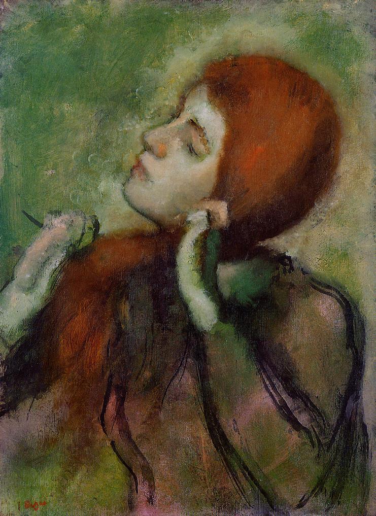 hair combing her Degas woman