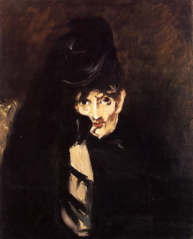 Portrait of Berthe Morisot with Hat in Mourning 1874 | Edouard Manet | Oil Painting