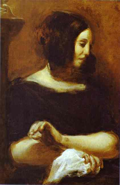 George Sand (Unfinished) 1838 | Eugene Delacroix | Oil Painting
