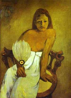 Girl With A Fan | Paul Gauguin | Oil Painting