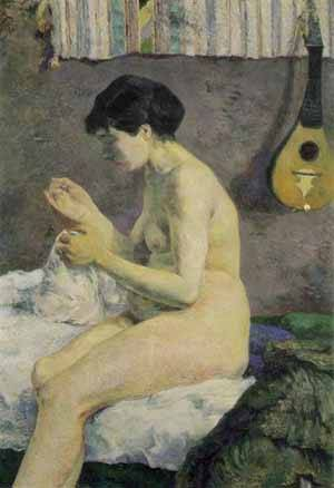 Study Of A Nude Suzanne Sewing | Paul Gauguin | Oil Painting