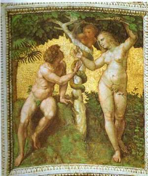 Adam And Eve Ceiling Panel Stanza Della Segnatura Rome | Raphael Raffaello Sanzio | Oil Painting