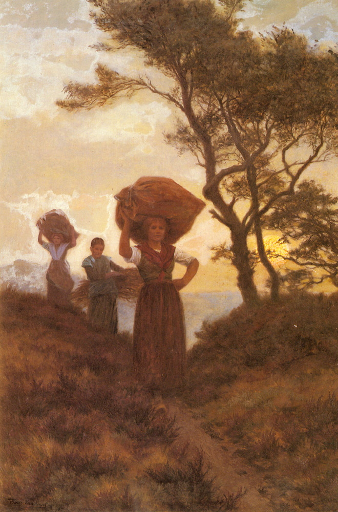 Returning From The Fields   Frans Van Kuyck   Oil Painting
