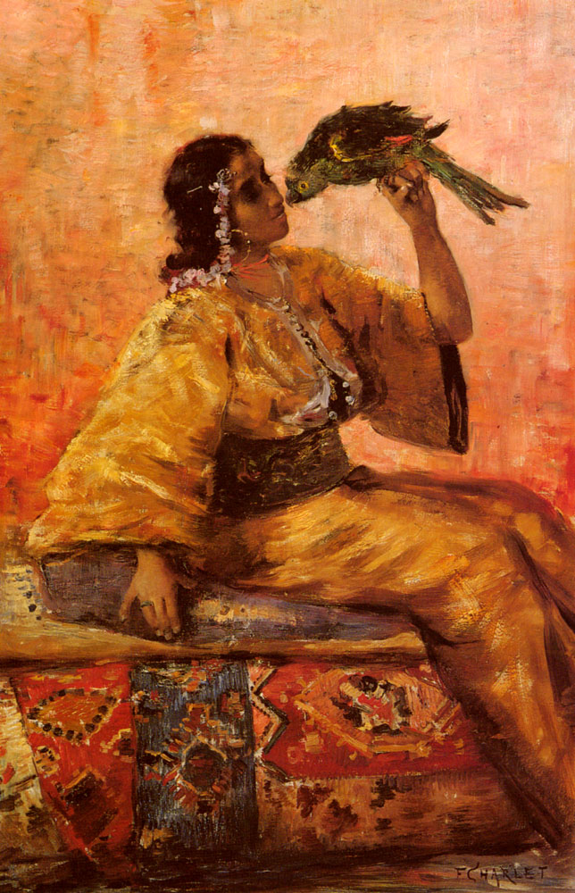 A Moroccan Beauty Holding A Parrot | Frantz Charlet | Oil Painting