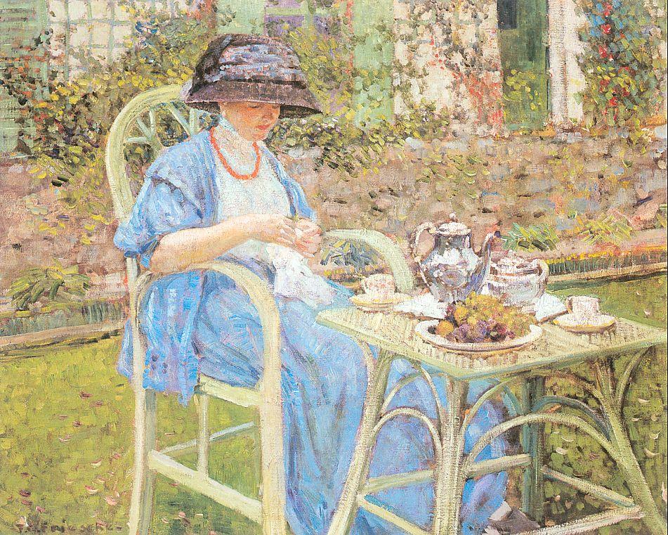 Frederick Carl Frieseke - Page 4 Breakfast-In-The-Garden-1911-Frederick-Carl-Frieseke-Oil-Painting
