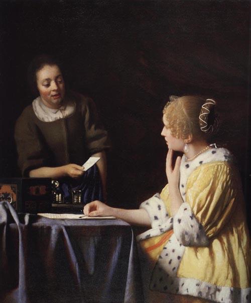 Mistress and Maid 1670 | Johannes Vermeer | Oil Painting
