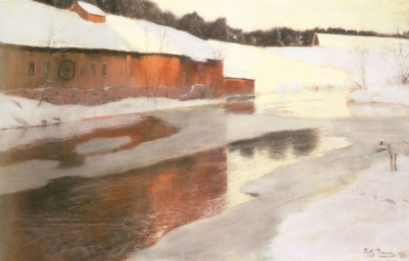 A Factory Building Near An Icy River In Winter | Frits Thaulow | Oil Painting