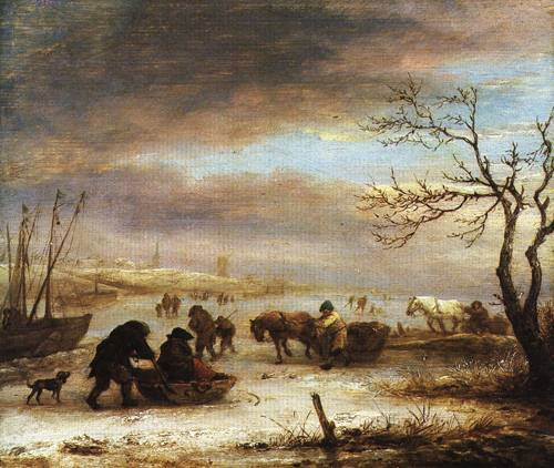 Frozen Canal with Sleds and Ships 1645 | Isack van Ostade | Oil Painting