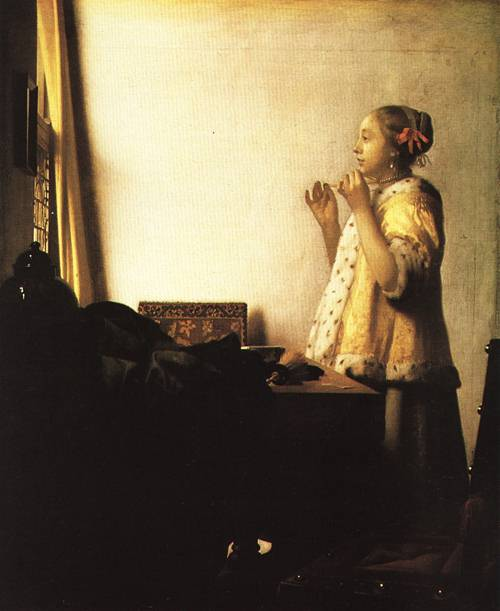 Young Lady with a Pearl Necklace 1660 5 | Jan Vermeer van Delft | Oil Painting