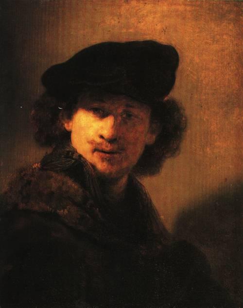 Self portrait with Velvet Barett 1634 | Rembrandt | Oil Painting