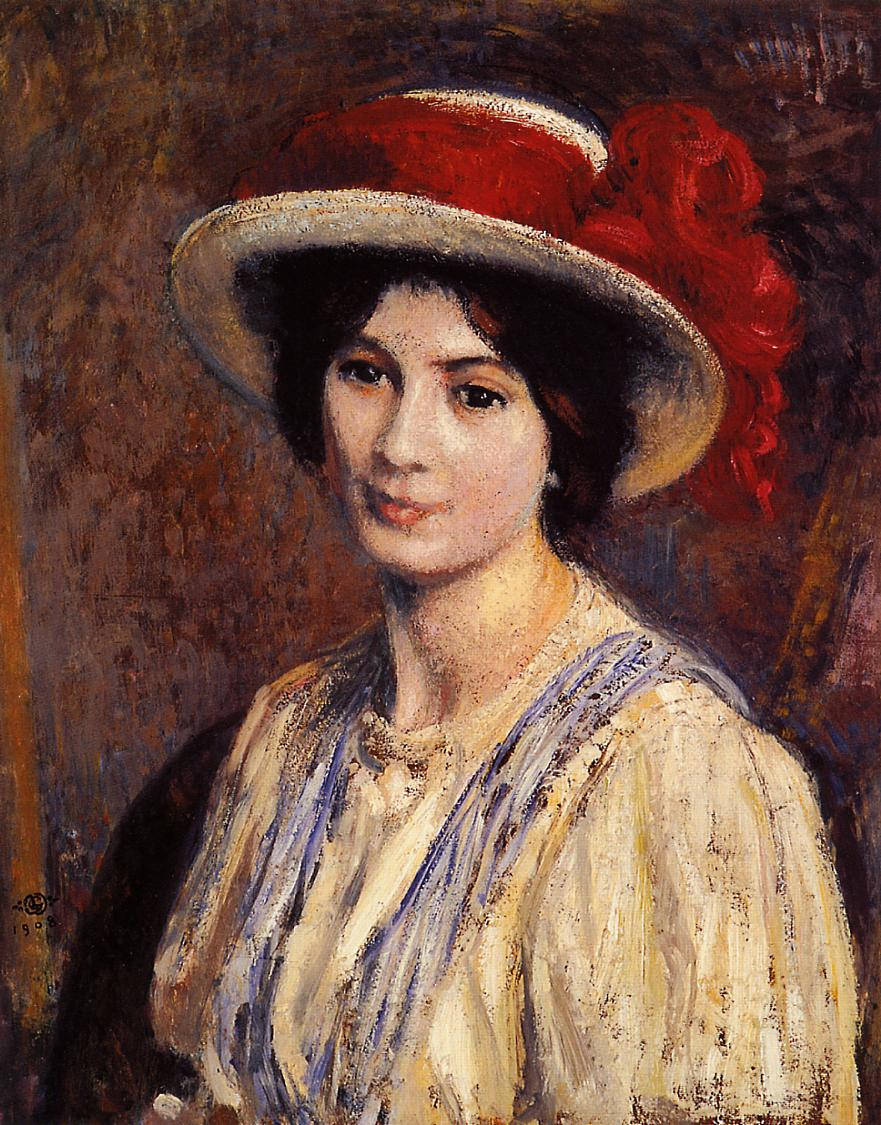 Hat with a Red Ribbon 1908   Georges Lemmen   Oil Painting