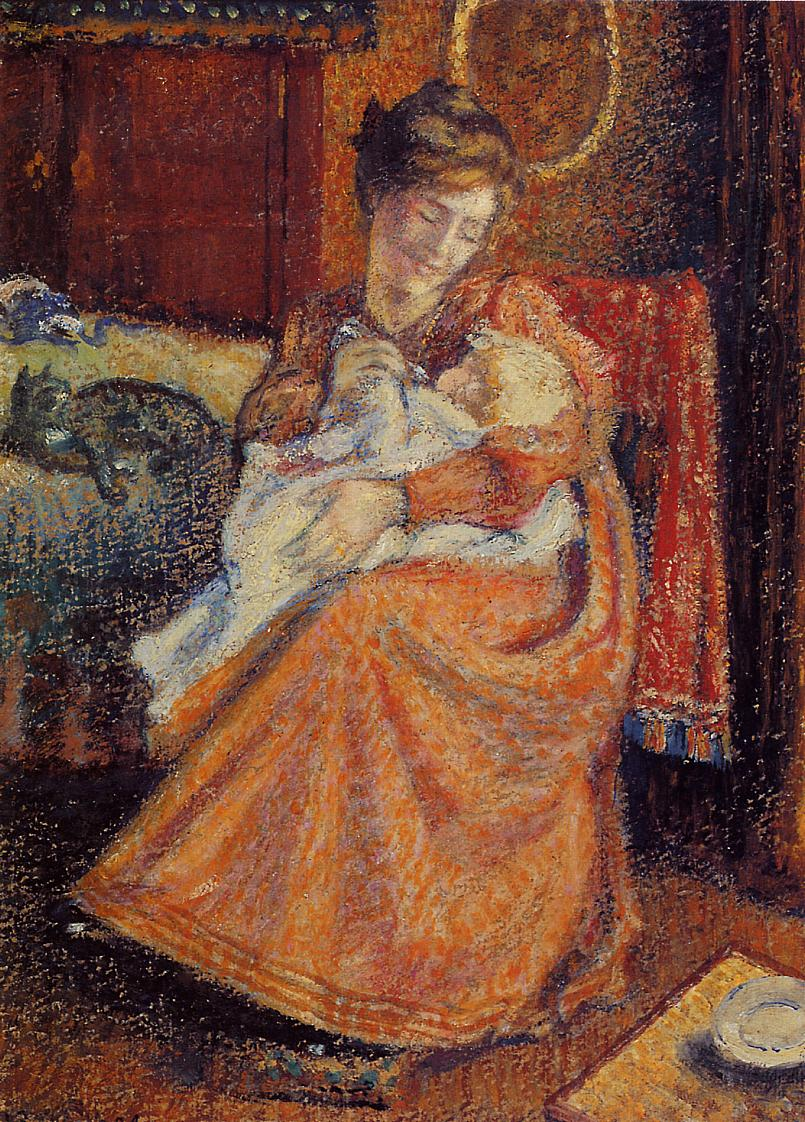 Madame Gaorges Mellen and Lise (aka The New Baby) 1904 | Georges Lemmen | Oil Painting