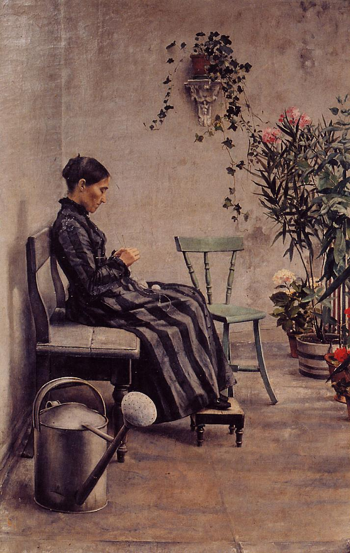 The Knitter 1883   Georges Lemmen   Oil Painting