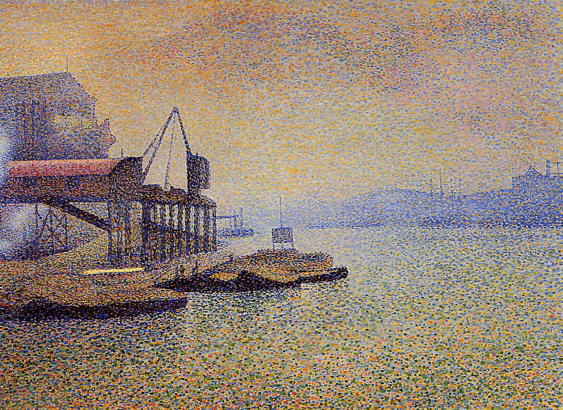 The Thames the Elevator 1892-1894   Georges Lemmen   Oil Painting