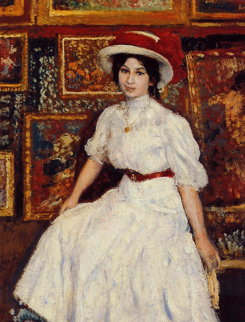 Young Girl in White 1907   Georges Lemmen   Oil Painting