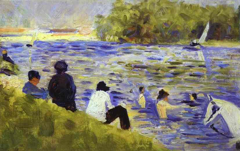 Bathers (Study For Bathers At Asnieres) 1883-84 | Georges Seurat | Oil Painting