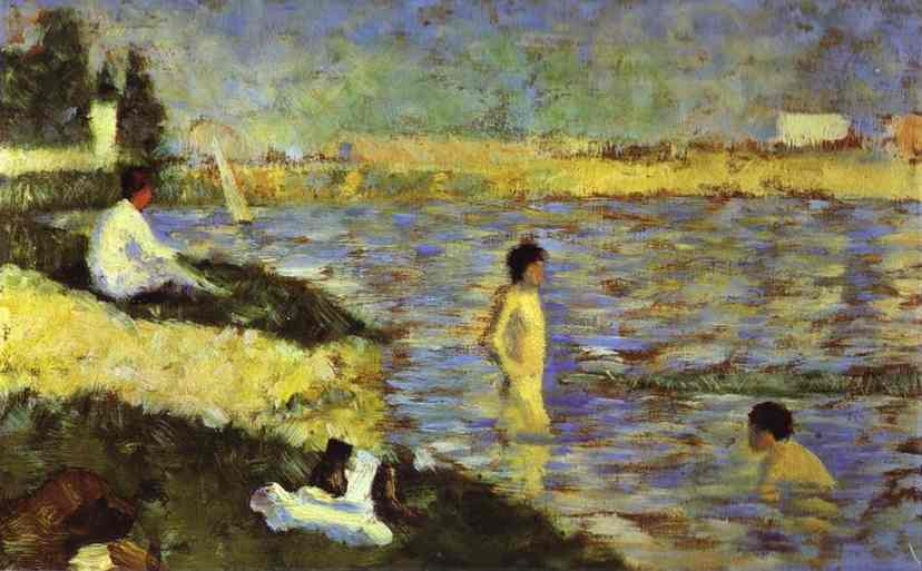 Bathing Boys (Study For Bathers At Asnieres) 1883-84 | Georges Seurat | Oil Painting