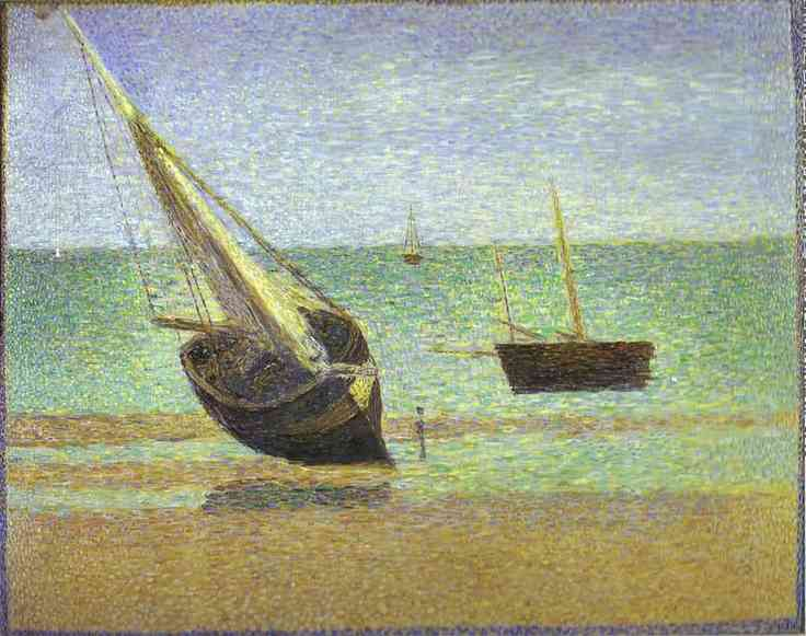 Boats Bateux Maree Basse Grandcamp 1885 | Georges Seurat | Oil Painting