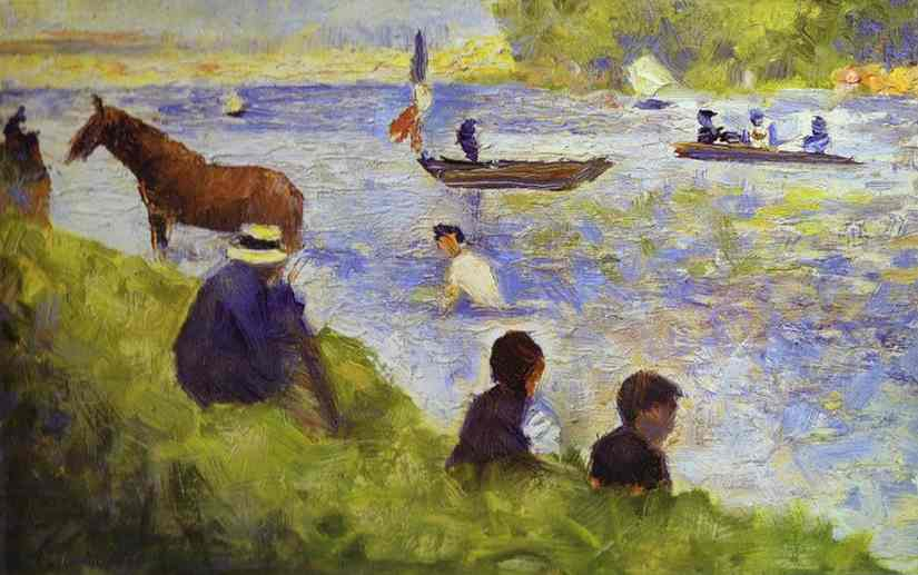 Horse And Boat (Study For Bathers At Asnieres) 1883-84 | Georges Seurat | Oil Painting