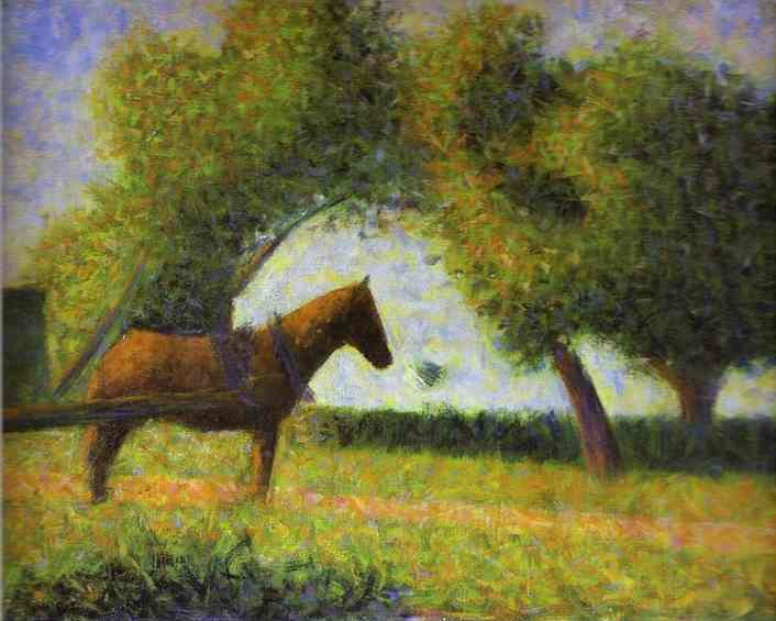 Horse In A Field 1882 | Georges Seurat | Oil Painting