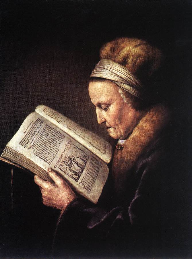 Old Woman Reading A Bible 1630 | Gerrit Dou | Oil Painting