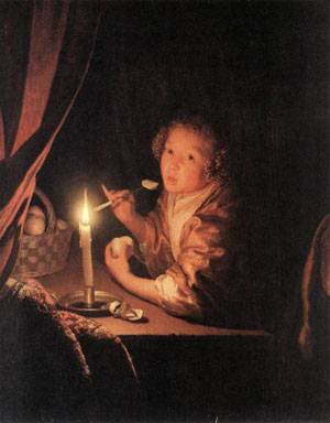Girl Eating an Apple 1675-80 | Godfried Schalcken | Oil Painting