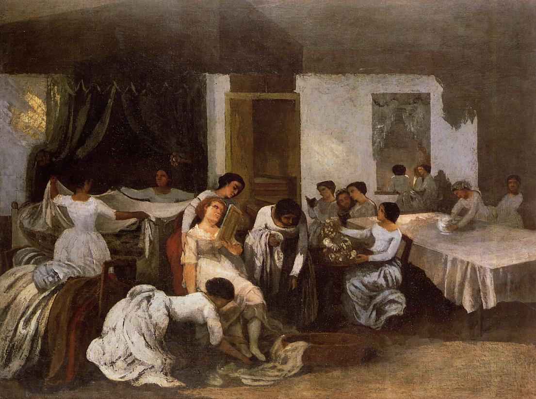 Dressing the Dead Girl (aka Dressing the Bride) 1855 | Gustave Courbet | Oil Painting