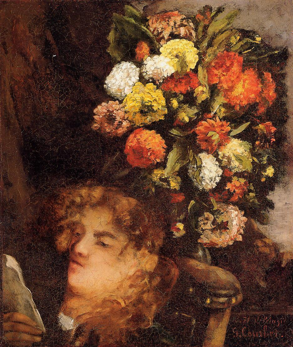 Head of a Woman with Flowers 1871 | Gustave Courbet | Oil Painting
