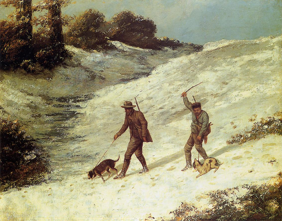 Poachers in the Snow 1867   Gustave Courbet   Oil Painting