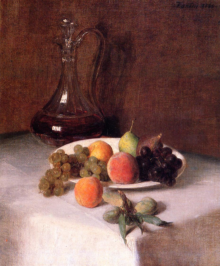 A Carafe of Wine and Plate of Fruit on a White Tablecloth 1865 | Henri Fantin Latour | Oil Painting