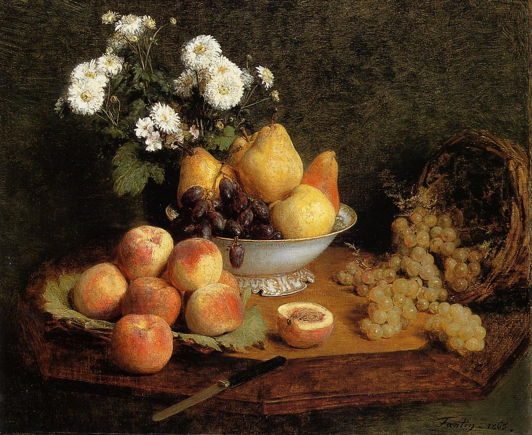 Flowers and fruit on a table 1865 henri fantin latour oil painting