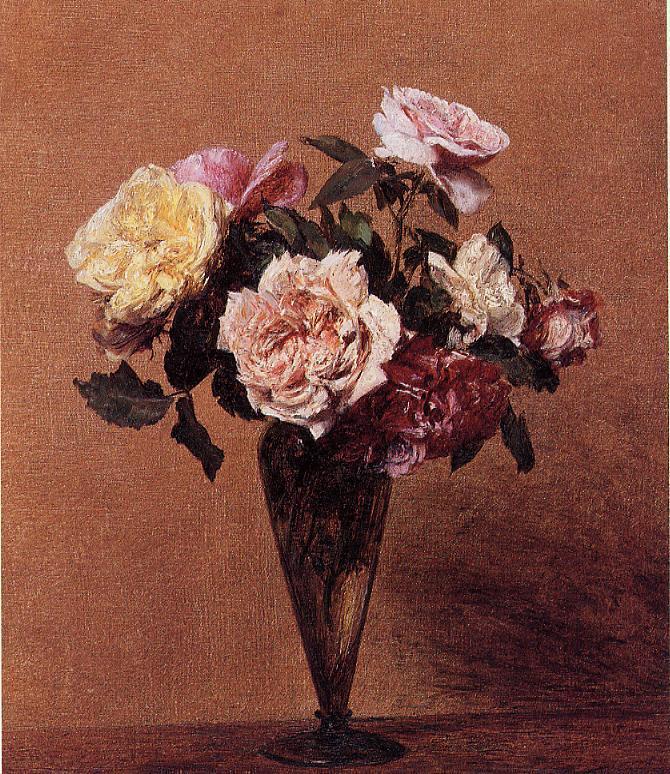 Roses In A Vase 1892 Painting Henri Fantin Latour Oil Paintings