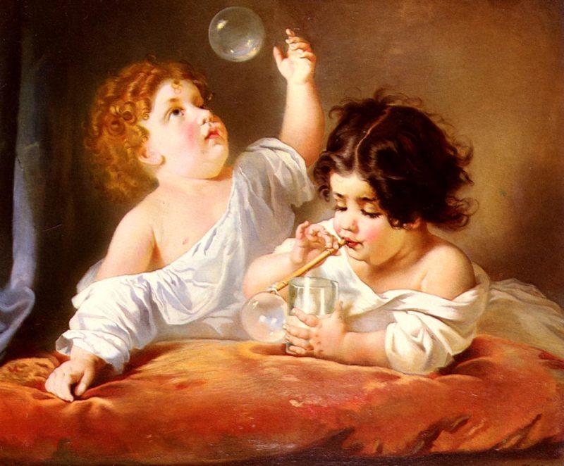 Blowing Bubbles | Henri Guillaume Schlesinge | Oil Painting
