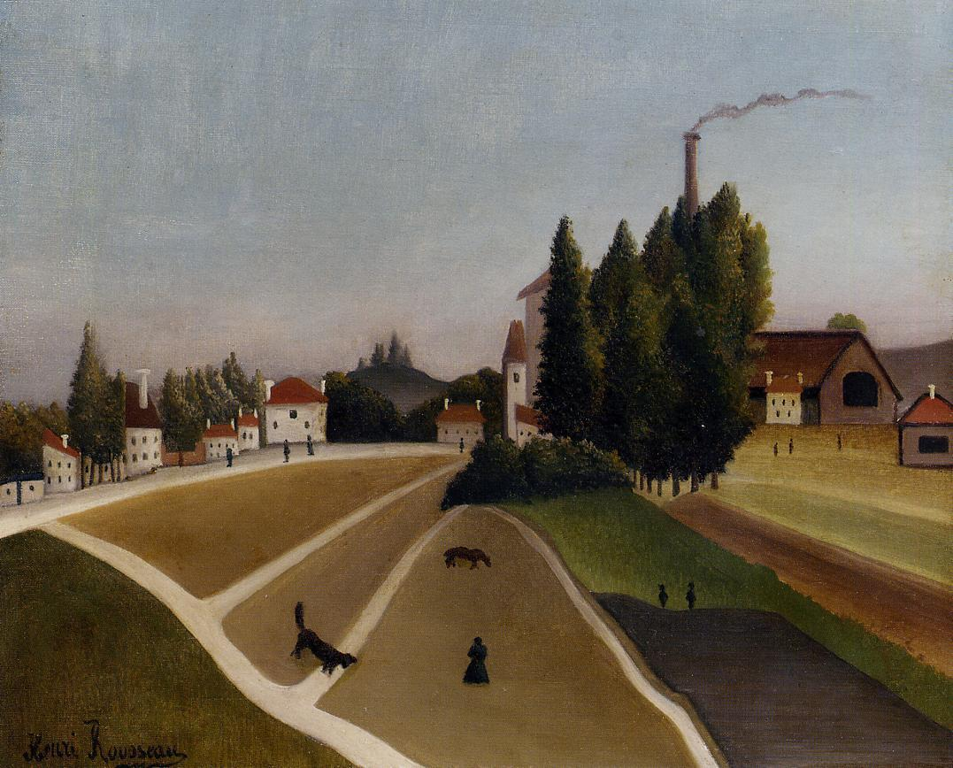 Landscape with Factory 1896-1906 | Henri Rousseau | Oil Painting