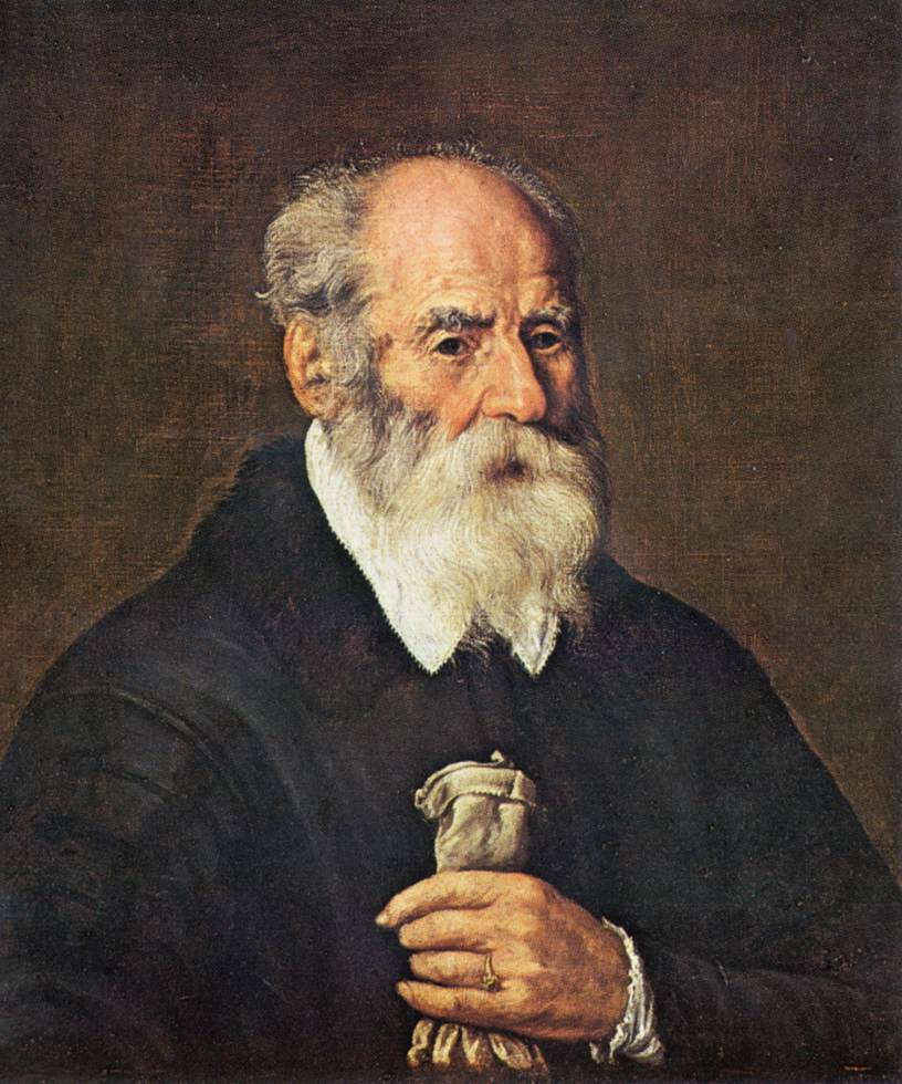 portrait of an old man with gloves painting marcantonio