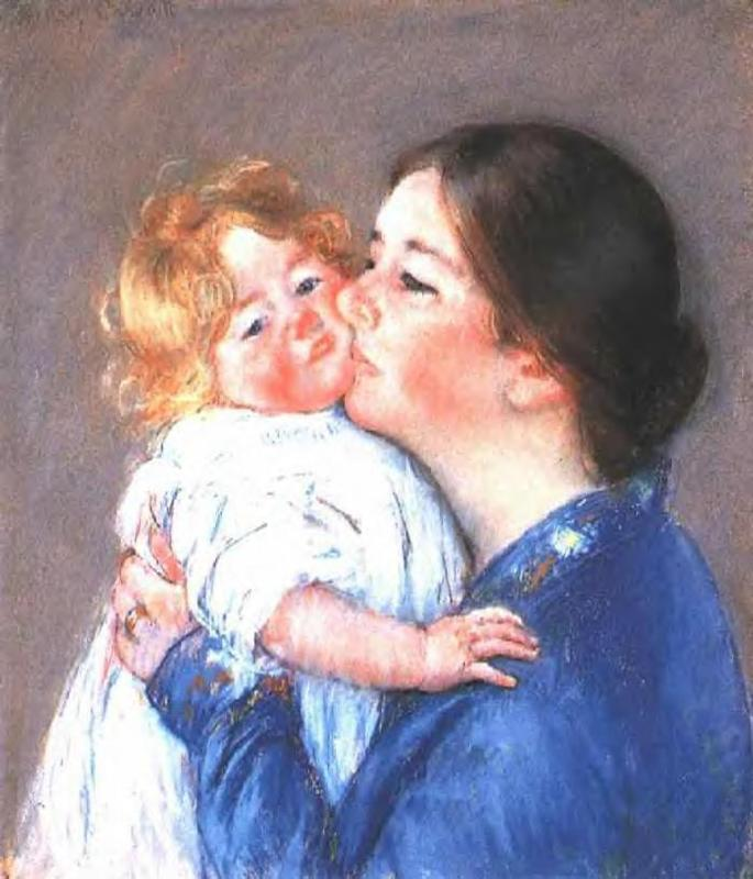 A Kiss for Baby Ann (no.2) 1896-1897 | Mary Cassatt | Oil Painting