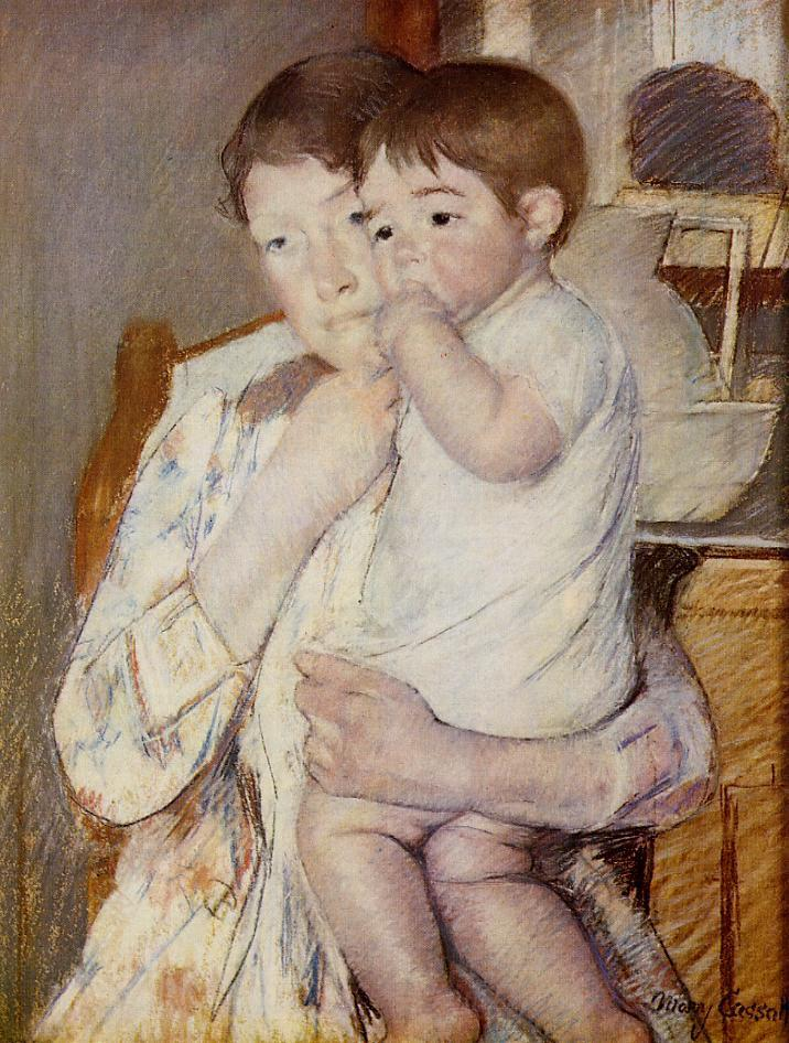 Baby in His Mother's Arms Sucking His Finger 1889 | Mary Cassatt | Oil Painting