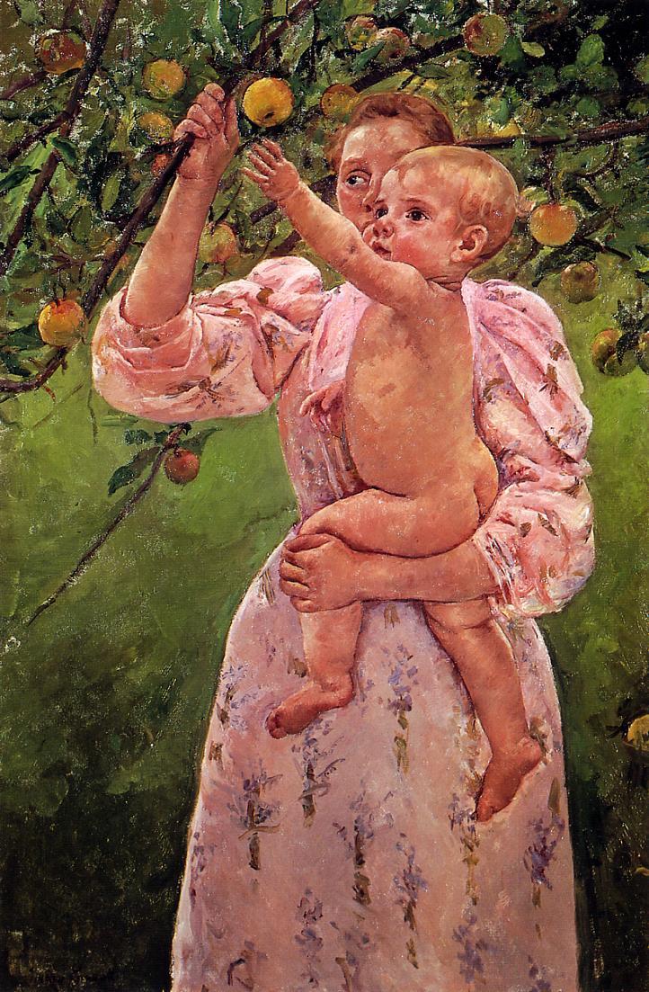 Baby Reaching for an Apple (aka Child Picking Fruit) 1893 | Mary Cassatt | Oil Painting