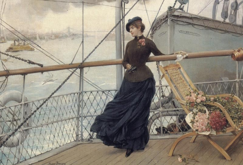 A Scottish Lady On A Boat Arriving In New York | Henry Bacon | Oil Painting