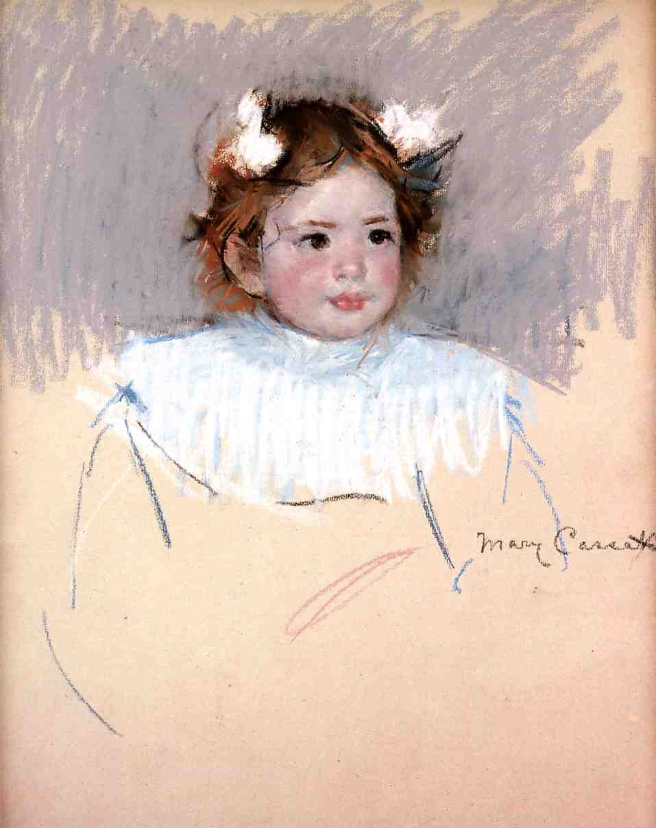 Ellen with Bows in Her Hair Looking Right 1899 | Mary Cassatt | Oil Painting