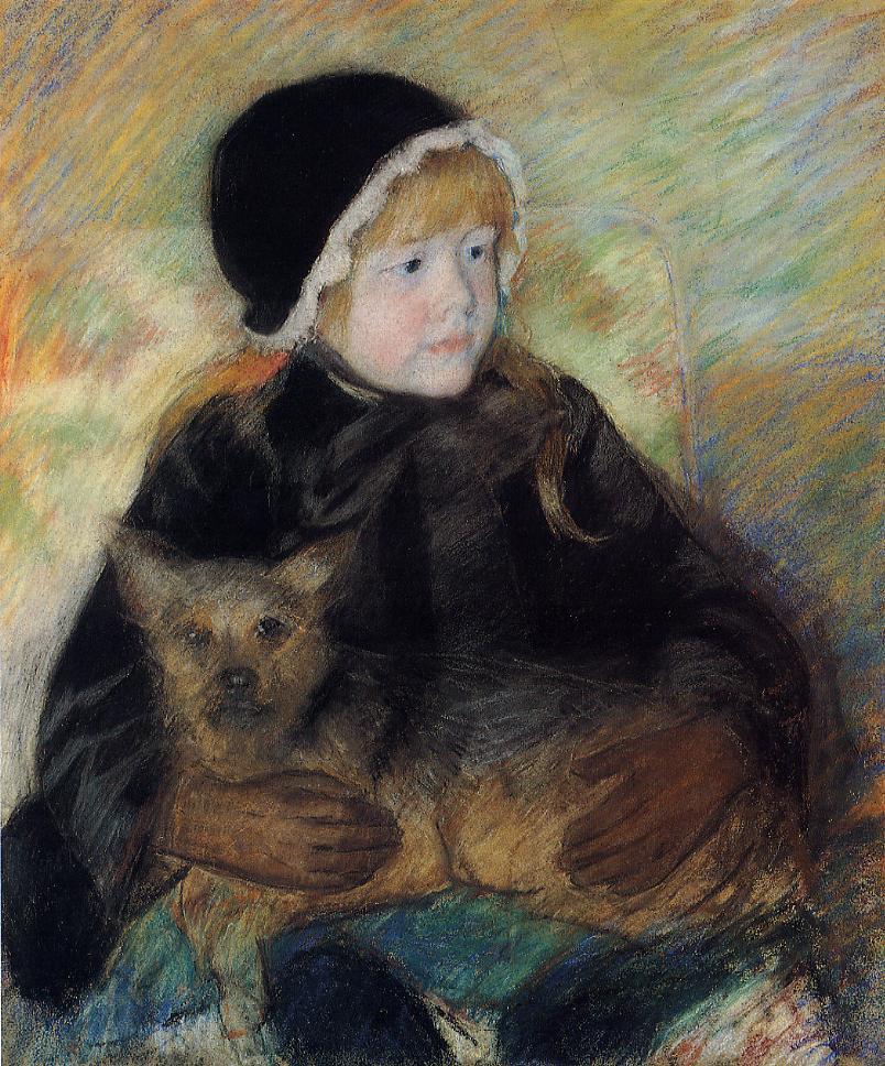 Elsie Cassatt Holding a Big Dog 1880 | Mary Cassatt | Oil Painting
