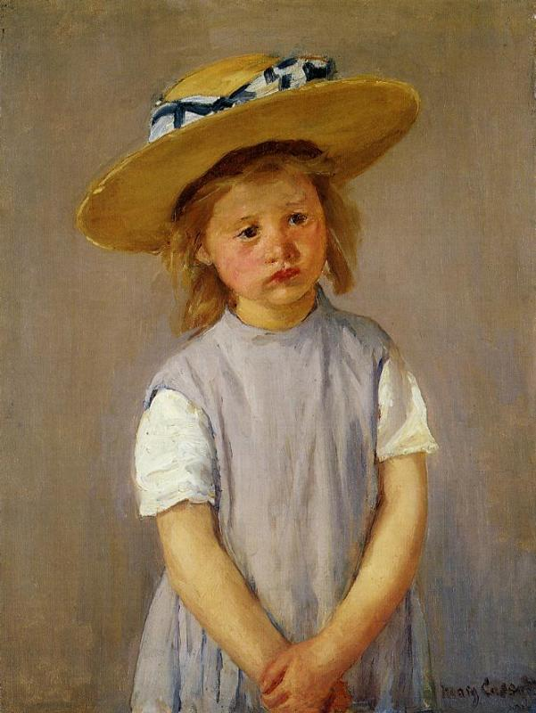 Little Girl in a Big Straw Hat and a Pinnafore 1886 | Mary Cassatt | Oil Painting